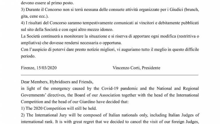 Comunicato Concorso Internazionale 2020 e Coronavirus / 2020 International Competition Statement & Coronavirus