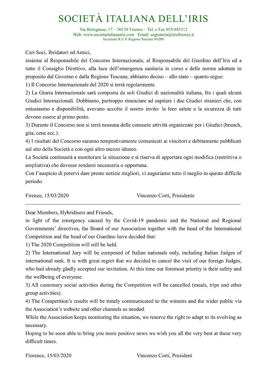 Comunicato Concorso Internazionale 2020 e Coronavirus / 2020 International Competition Statement & Coronavirus