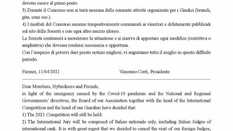 Comunicato Concorso Internazionale 2021 e Coronavirus / 2021 International Competition Statement & Coronavirus