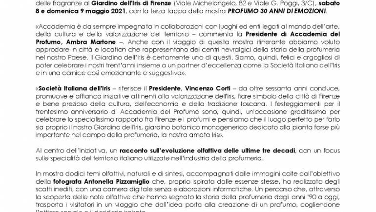 """8 e 9 maggio 2021 – Mostra fotografica olfattiva """"PROFUMO 30 ANNI DI EMOZIONI"""" al Giardino dell'Iris"""